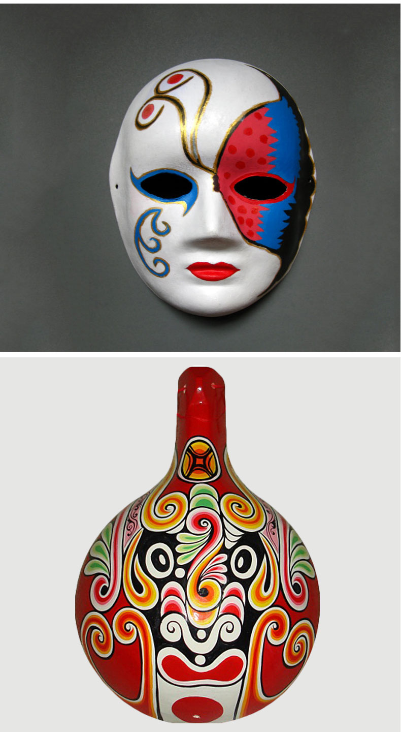 diy白色男女纸浆面具 手绘脸谱面具全脸
