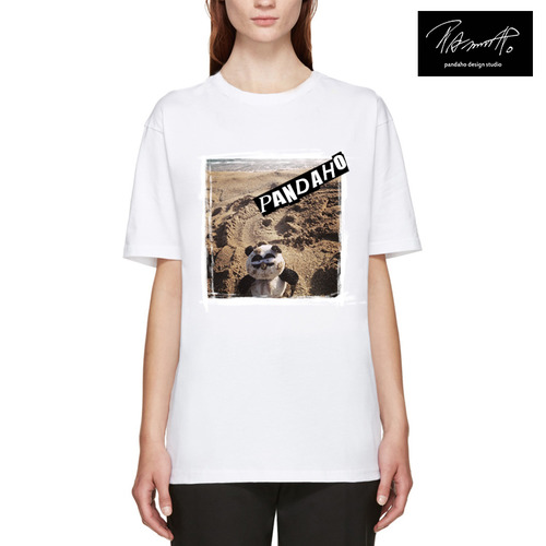 White 'Pandaho on Beach' T SHIRT