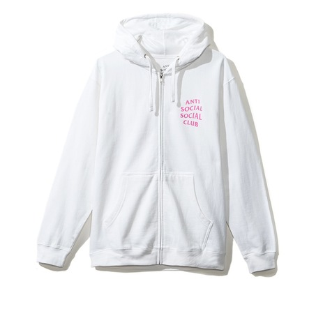 WHITE/PINK ZIP UP