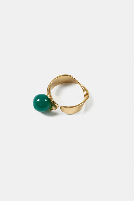 LEAF RING- GREEN AVENTURINE