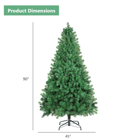 SHareconn 8ft Unlit Premium Artificial Spruce Hinged Christmas Tree with 800 Branch Tips and Metal-2