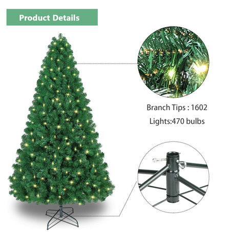 SHareconn 7.5ft Pre-lit Premium Artificial Christmas Tree, Xmas Tree with 470 Warm Lights-3
