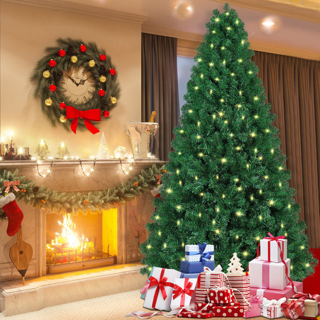 SHareconn 7.5ft Pre-lit Premium Artificial Christmas Tree, Xmas Tree with 470 Warm Lights-4